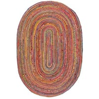 Safavieh Hand-Woven Cape Cod Red/ Multi Jute Rug - 6' x 9' Oval