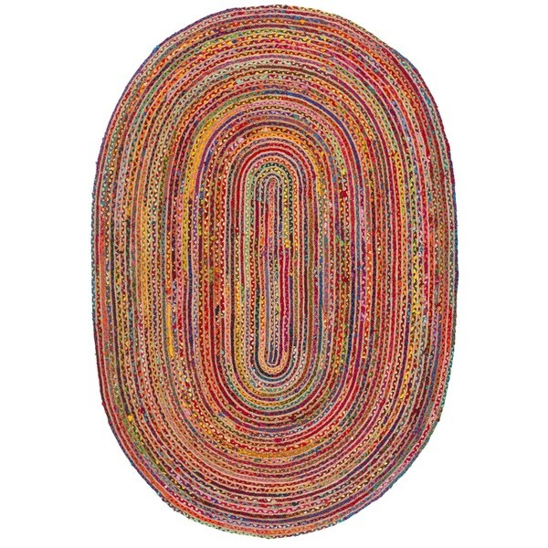 Safavieh Handmade Cape Cod Boho Braided Red/ Multi Cotton Rug - 6' x 9' Oval