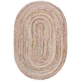 Safavieh Handmade Cape Cod Boho Braided Beige/ Multi Cotton Rug - 6' x 9' Oval