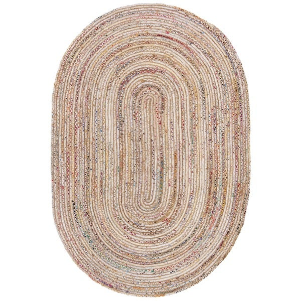Safavieh Hand-Woven Cape Cod Beige/ Multi Jute Rug (6' x 9' Oval)