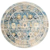 Safavieh Claremont Vintage Blue/ Gold Polyester Rug - 6'7 Round