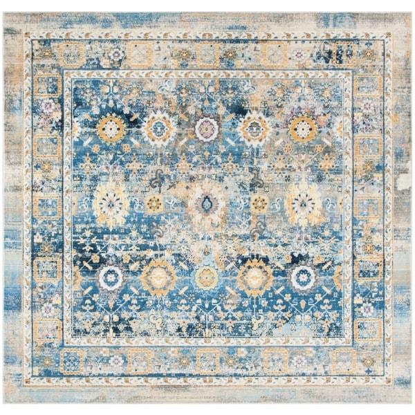Safavieh Claremont Vintage Blue/ Gold Polyester Rug - 6'7 Square