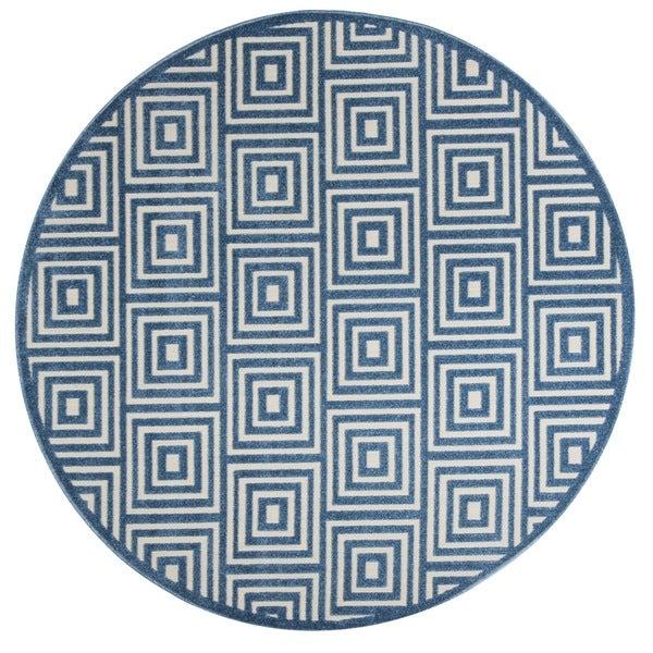 Safavieh Cottage Cream/ Light Blue Rug (6'7 Round)