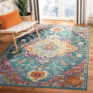 Safavieh Crystal Vintage Bohemian Light Blue/ Fuchsia Rug (7' Square)