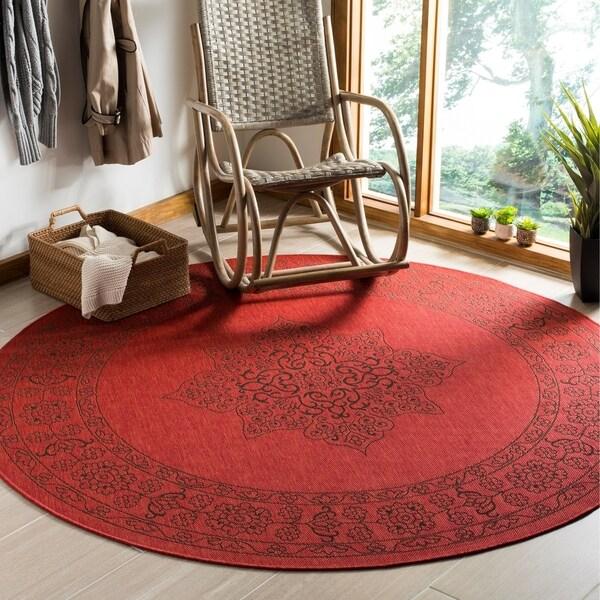 Safavieh Courtyard Red/ Chocolate Rug - 6'7 Round