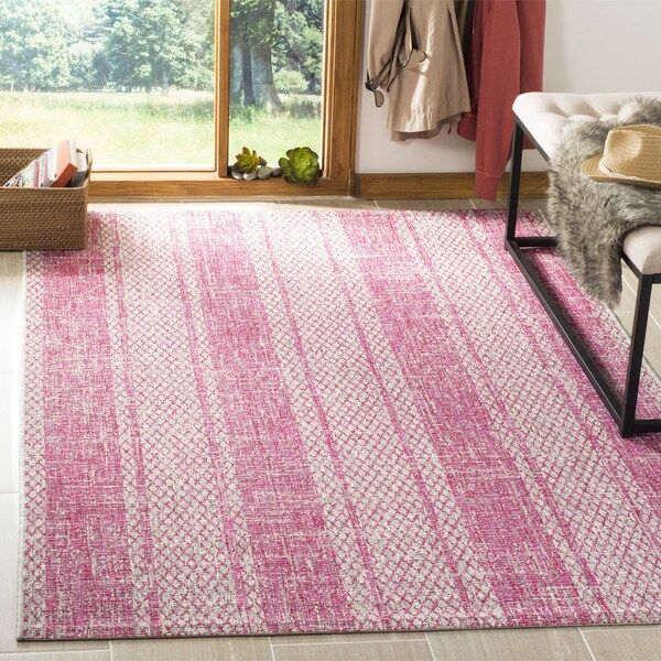 Safavieh Courtyard Light Grey/ Fuchsia Rug - 6'7 Square