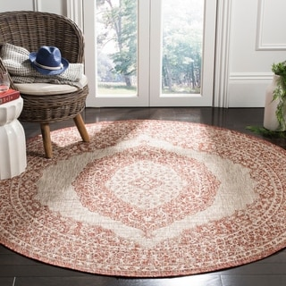 Safavieh Courtyard Light Beige/ Terracotta Rug (6'7 Round)