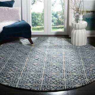 Safavieh Handmade Dip Dye Grey/ Charcoal Wool Rug (7' Round)