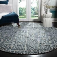 Safavieh Handmade Dip Dye Grey/ Charcoal Wool Rug - 7' Round