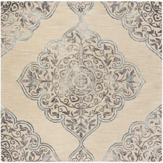 Safavieh Handmade Dip Dye Beige/ Blue Wool Rug (7' Square)