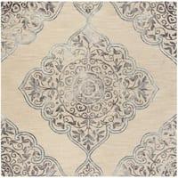 Safavieh Handmade Dip Dye Beige/ Blue Wool Rug - 7' Square
