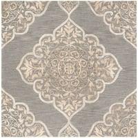 Safavieh Handmade Dip Dye Slate/ Beige Wool Rug - 7' Square