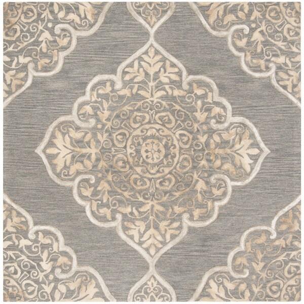 Safavieh Handmade Dip Dye Slate/ Beige Wool Rug (7' Square)