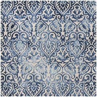 Safavieh Handmade Dip Dye Royal Blue/ Beige Wool Rug (7' Square)
