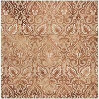 Safavieh Handmade Dip Dye Copper/ Beige Wool Rug - 7' Square