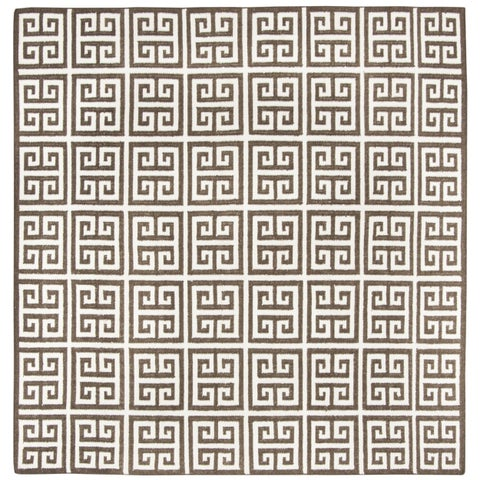 Safavieh Hand-Woven Dhurries Brown/ Ivory Banana Silk Rug - 7' x 7' Square