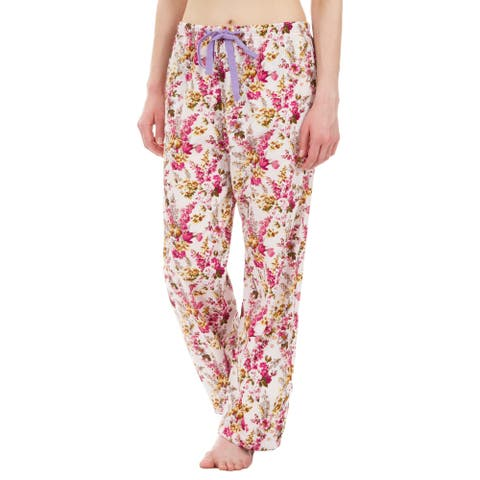 Leisureland Floral Cotton Poplin Pajama Lounge Pants