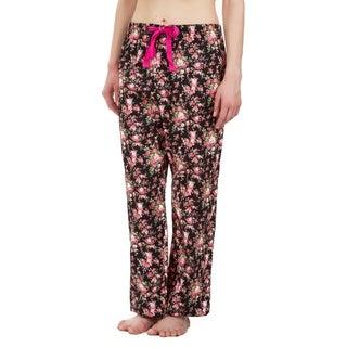 Leisureland Rose Floral Cotton Poplin Pajama Lounge Pants Black