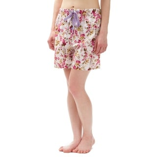 Leisureland Floral Cotton Poplin Pajama Lounge Boxer Shorts