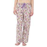 Leisureland Purple Orange Floral Cotton Poplin Pajama Lounge Pants