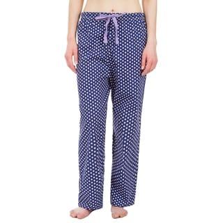 Leisureland Polka Dot Cotton Poplin Pajama Lounge Pants Blue