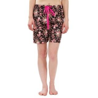 Leisureland Rose Floral Cotton Poplin Pajama Lounge Boxer Shorts Black