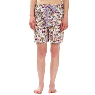 Leisureland Purple Orange Floral Cotton Poplin Pajama Lounge Boxer Shorts