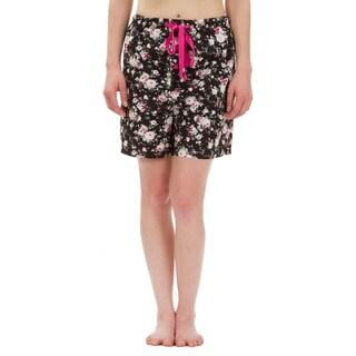 Leisureland Floral Cotton Poplin Pajama Lounge Boxer Shorts Black