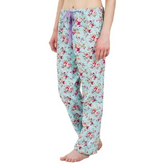 Leisureland Floral Cotton Poplin Pajama Lounge Pants Light Blue