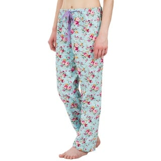 Leisureland Floral Cotton Poplin Pajama Lounge Pants Light Blue