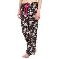 Leisureland Floral Cotton Poplin Pajama Lounge Pants Black
