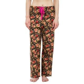 Leisureland Orange Rose Floral Cotton Poplin Pajama Lounge Pants Black