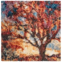 Safavieh Gypsy Rust/ Blue Polyester Rug - 6'7 Square