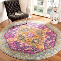 Safavieh Madison Light Grey/ Fuchsia Rug - 6'7 Round