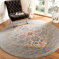 Safavieh Madison Vintage Light Grey/ Fuchsia Rug - 6'7 Round