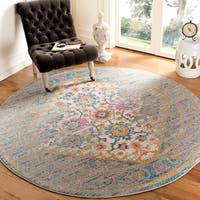 "Safavieh Madison Vintage Light Grey/ Fuchsia Rug - 6'7"" x 6'7"" round"