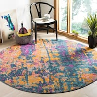 Safavieh Madison Bohemian Blue/ Orange Rug - 6'7 Round