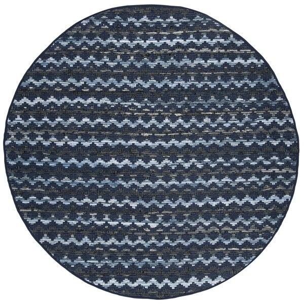 Safavieh Hand-Woven Montauk Turquoise/ Blue/Black Cotton Rug - 6' Round