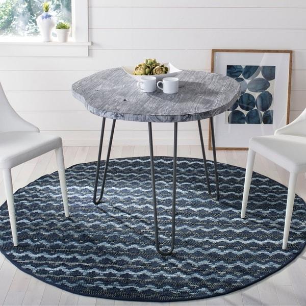 Safavieh Hand-Woven Montauk Turquoise/ Blue/Black Cotton Rug - 6' x 6' Round
