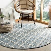 Safavieh Hand-Woven Natura Ivory/ Blue Wool Rug - 6' Round