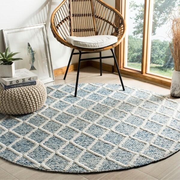 Safavieh Hand-Woven Natura Ivory/ Blue Wool Rug - 6' X 6' Round