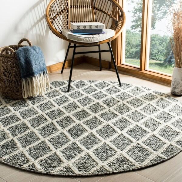 Safavieh Hand-Woven Natura Ivory/ Black Wool Rug - 6' x 6' Round