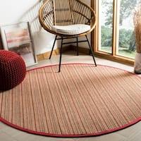 Safavieh Natural Fiber Brown/ Red Sisal Rug - 6' Round
