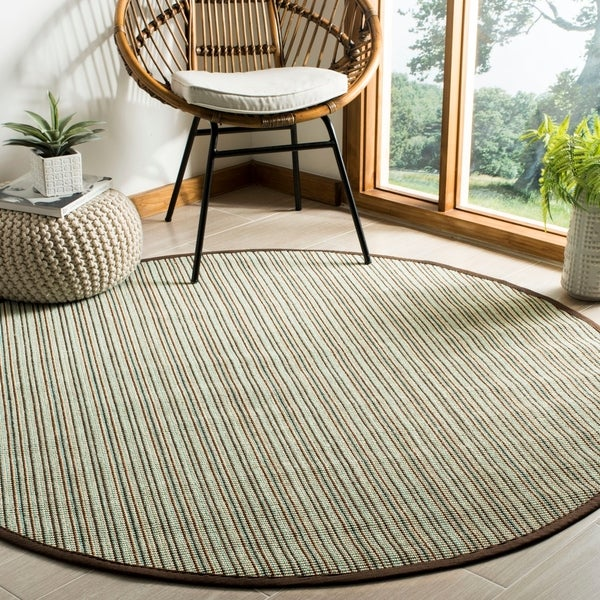 Safavieh Natural Fiber Teal/ Brown Sisal Rug - 6' Round
