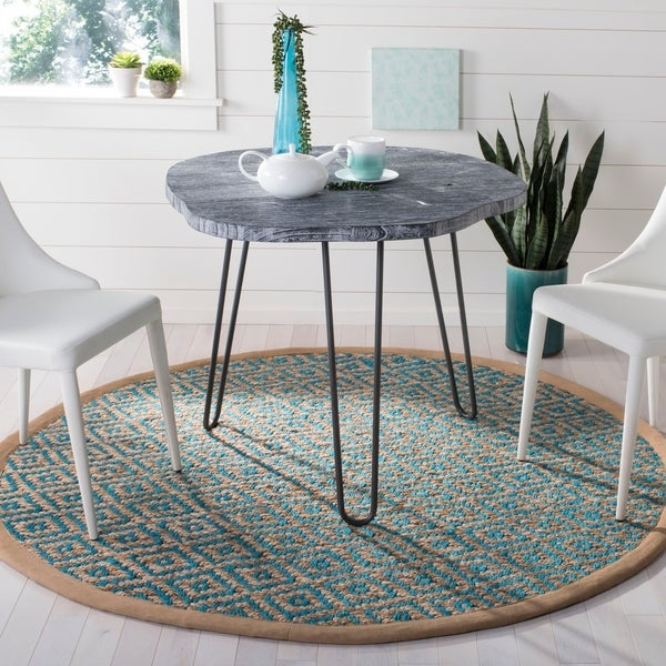 Safavieh Hand-Woven Natural Fiber Turquoise/ Natural Jute Rug - 6' Round