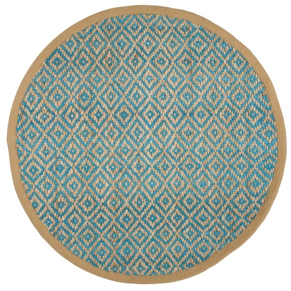 Safavieh Hand-Woven Natural Fiber Turquoise/ Natural Jute Rug (6' Round)