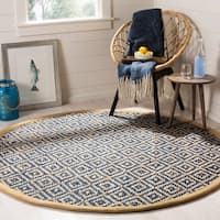 Safavieh Hand-Woven Natural Fiber Tropical Blue/ Natural Jute Rug - 6' x 6' Round