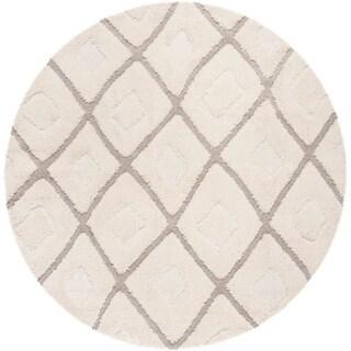 Safavieh Olympia Shag Cream/ Beige Polyester Rug (6'7 Round)