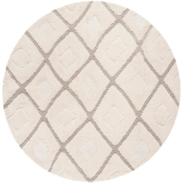 "Safavieh Olympia Shag Cream/ Beige Polyester Rug - 6'7"" x 6'7"" round"
