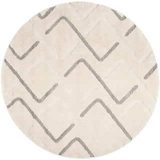 Safavieh Olympia Shag Cream/ Grey Polyester Rug (6'7 Round)